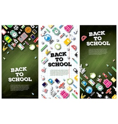 Back To School Banner Set with School Supplies vector image vector image