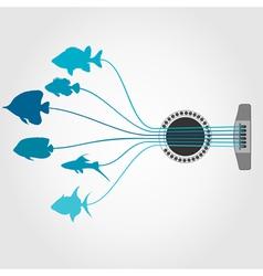 Fish a guitar vector image vector image