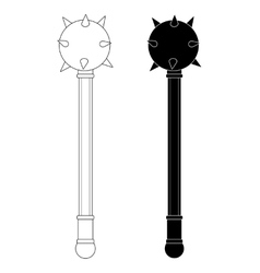 Medieval knight mace Contour silhouette vector image vector image