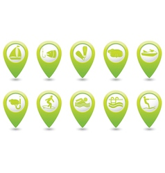 Set of 10 sport GREEN map pointer vector image vector image