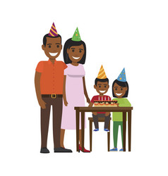 family yogrther at table with happy birthday cake vector image