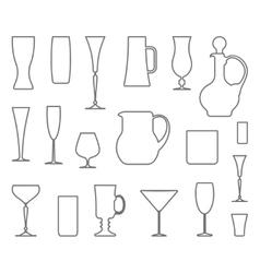 Glasswares outlines vector image