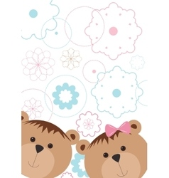 Isolated pattern with bears and flowers vector image vector image