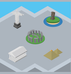 isometric attraction set of egypt chile rio and vector image