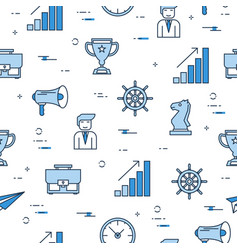 seamless pattern with business management icons vector image