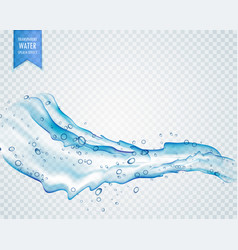 Transparent water splash with drops in light blue vector