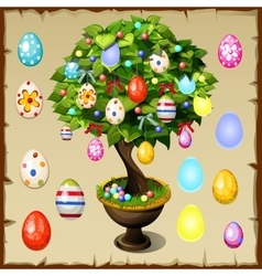 Bonsai decorated with colorful Easter eggs vector image