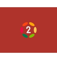 Color number 2 logo icon design Hub frame vector image vector image