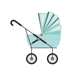 cute baby carriage with blue soft top vector image
