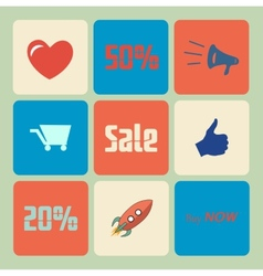 Flat Sale Icons vector image