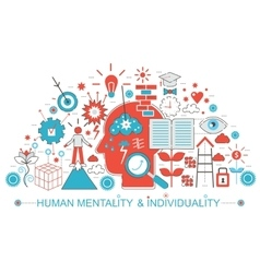 Modern Flat thin Line design Human mentality and vector image