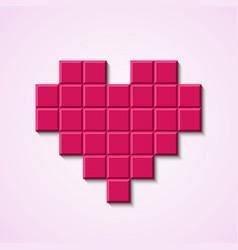 Pink mosaic heart vector image