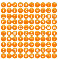 100 pharmacy icons set orange vector