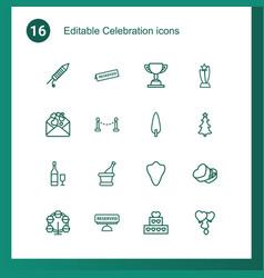 16 celebration icons vector image
