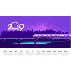 2019 neon train calendar vector