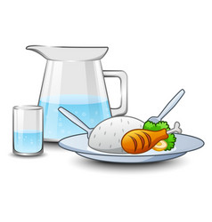 A kettle of water with rice and chicken meat in fr vector