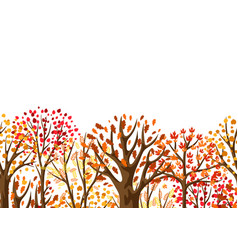 Autumn seamless pattern with stylized trees vector