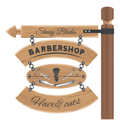 barbershop salon wooden signboard with vector image