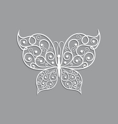 Beautiful paper butterfly with swirl pattern vector