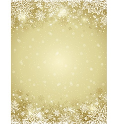 Beige christmas background with frame of snowflake vector
