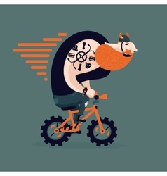 Big ginger biker on a little bike Funny man on a vector image