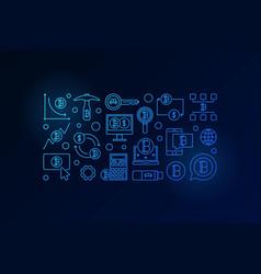 bitcoin minimal blue banner crypto vector image