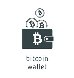 bitcoin wallet with coins vector image