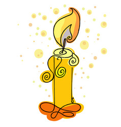 Burning candle hand drawn candlelight vector