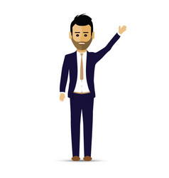 business man hand up greeting vector image