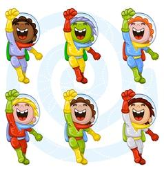 cartoon astronauts vector image