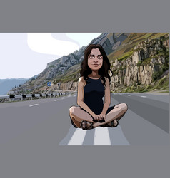 cartoon funny woman sitting on the roadway vector image