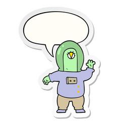 Cartoon space alien and speech bubble sticker vector