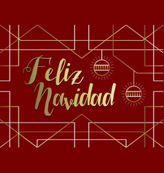 Christmas gold art deco line spanish feliz navidad vector