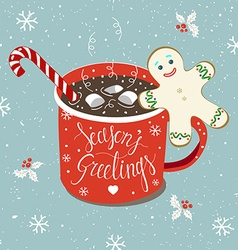Christmas Hot chocolate card vector image