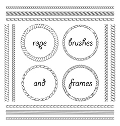 collection frames and brushes braided vector image
