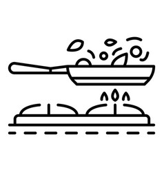 Cooking on griddle pan icon outline style vector