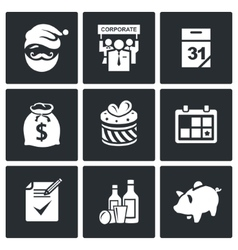 Corporate New Year icons set vector