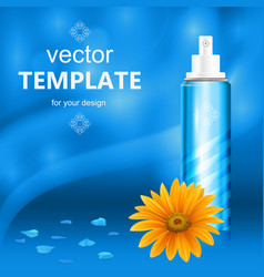 cosmetic packaging with white cap on blue vector image