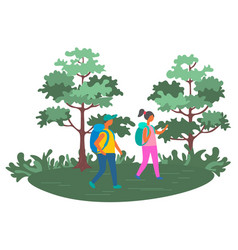 couple traveling people with backpacks backpackers vector image