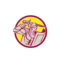 Crusader knight with sword and shield circle retro vector