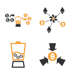 cryptocurrency anonymizer mixer icon set vector image