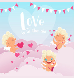 cupid clouds background valentine day baby amur vector image