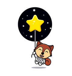 Cute squirrel floating with star mascot character vector