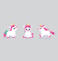 Cute unicorn set background baby fairy vector