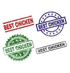 Damaged textured best chicken stamp seals vector