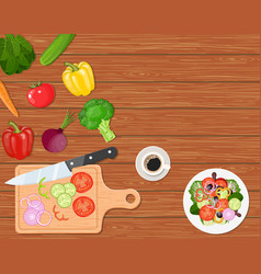 Dining table with vegetables vector