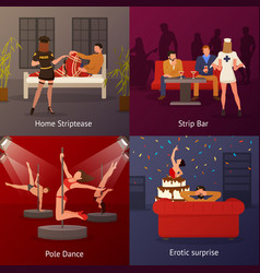 Erotic dance compositions set vector