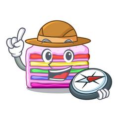 Explorer rainbow cake in cartoon shape vector