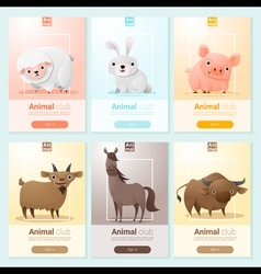 Farm animals banner for web design vector