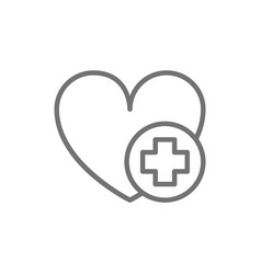 first aid for heart attack line icon vector image